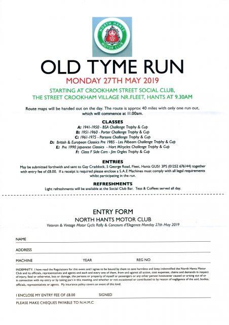 North Hants Old Tyme Run @ Crookham Street Social Club
